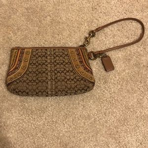 Brown coach wristlet